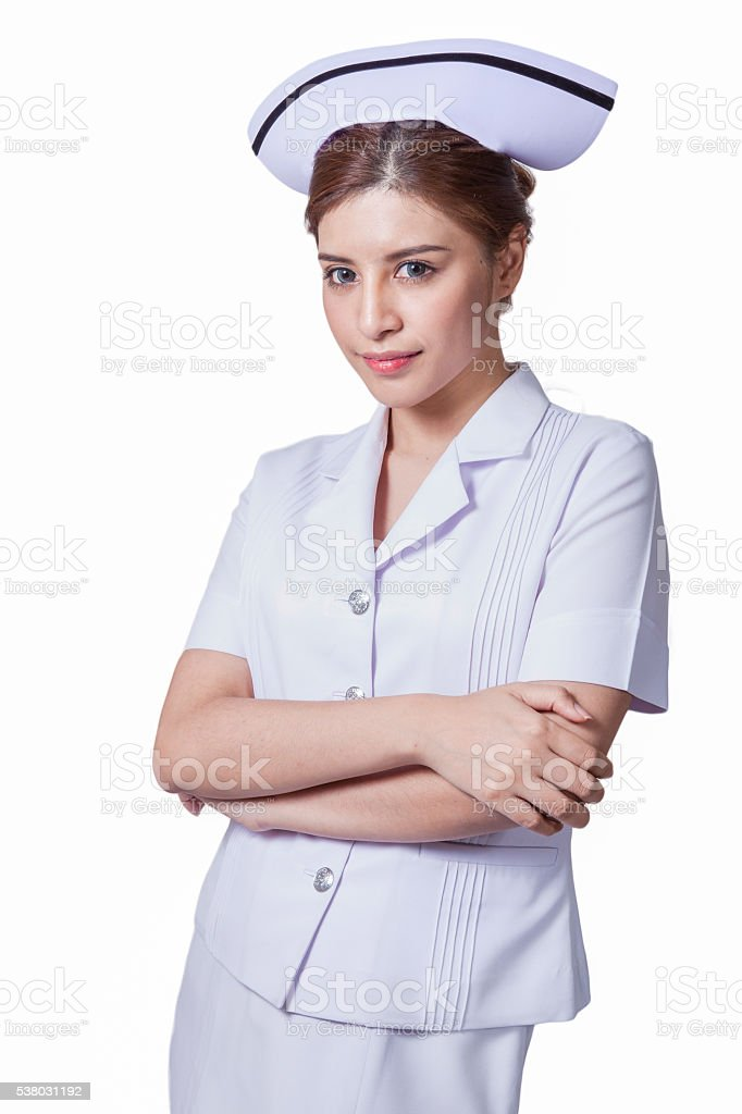 Young woman asian nurse stock photo