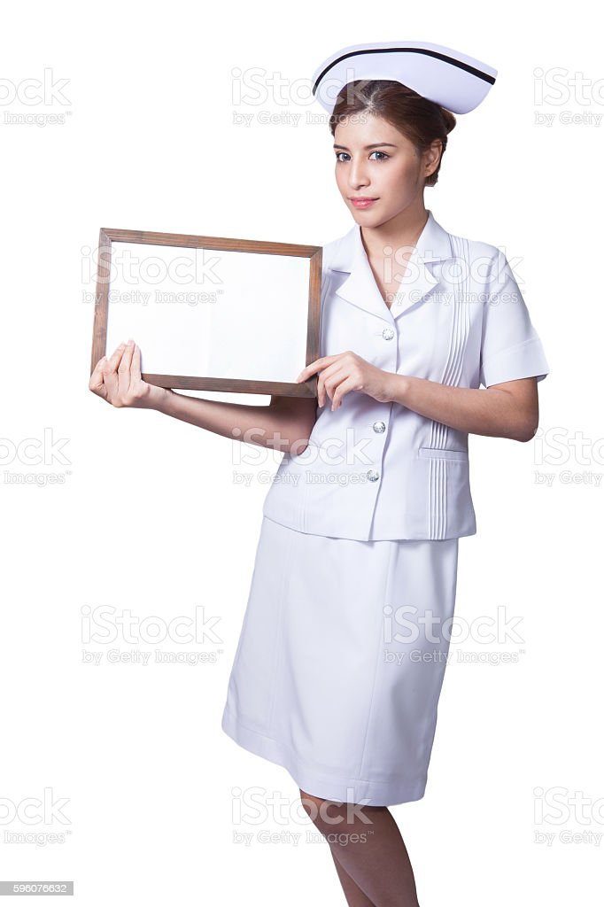 Young woman asian nurse Showing billboard stock photo
