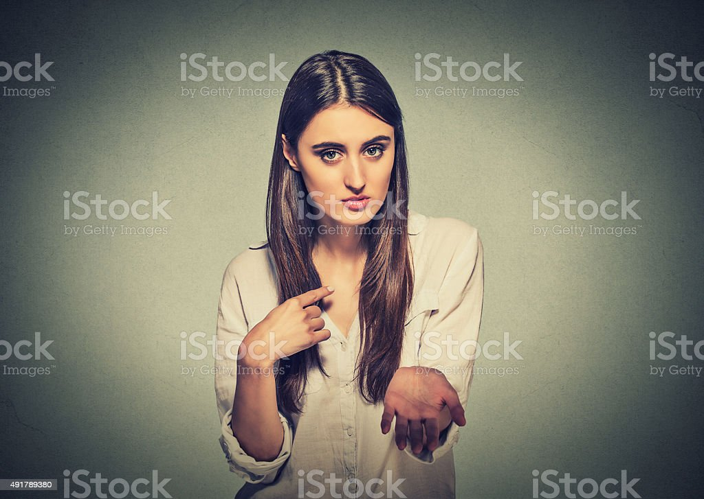 Young woman asking for more money stock photo