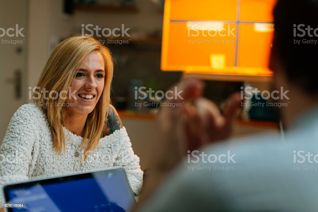 Young woman at a job interview. stock photo