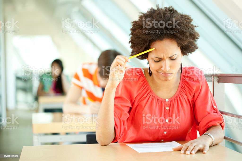 Young woman at an exam stock photo