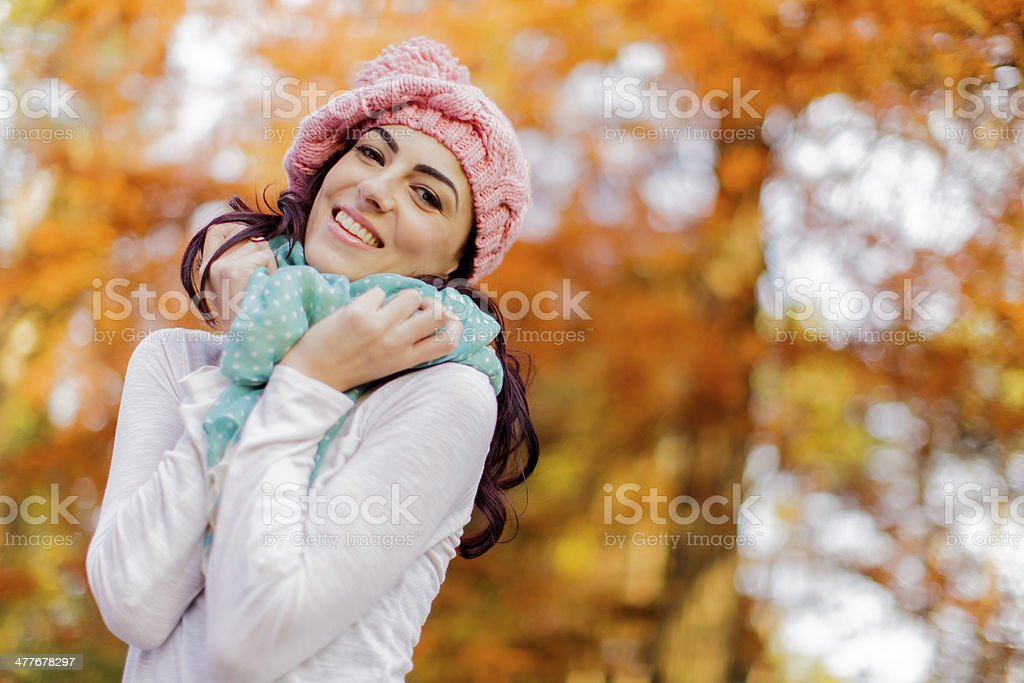 Young woman at autumn forest royalty-free stock photo