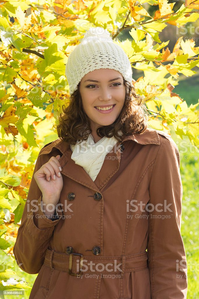 Young woman at autumn stock photo