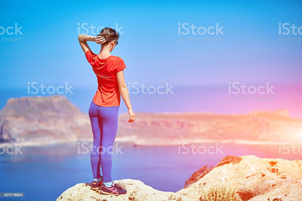 young woman at early morning stock photo