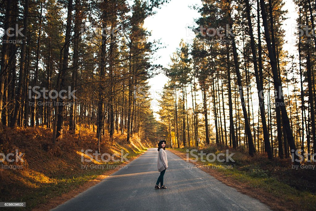 Young woman at forest stock photo