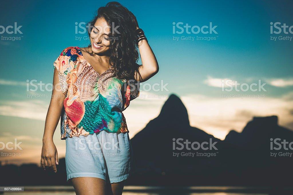 Young woman at Rio de Janeiro stock photo