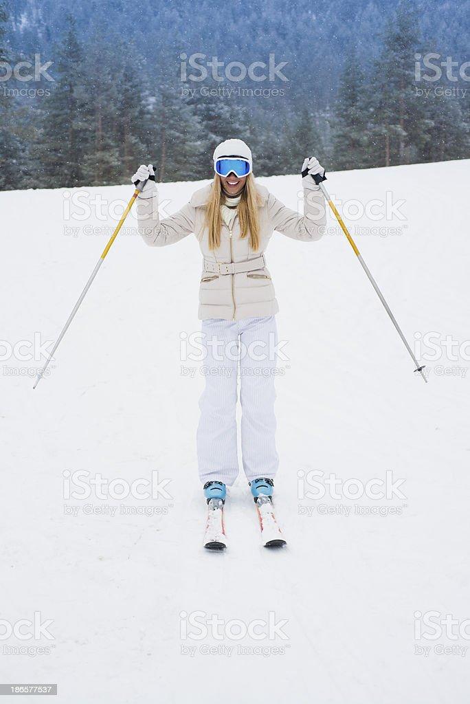 Young woman at skiing royalty-free stock photo