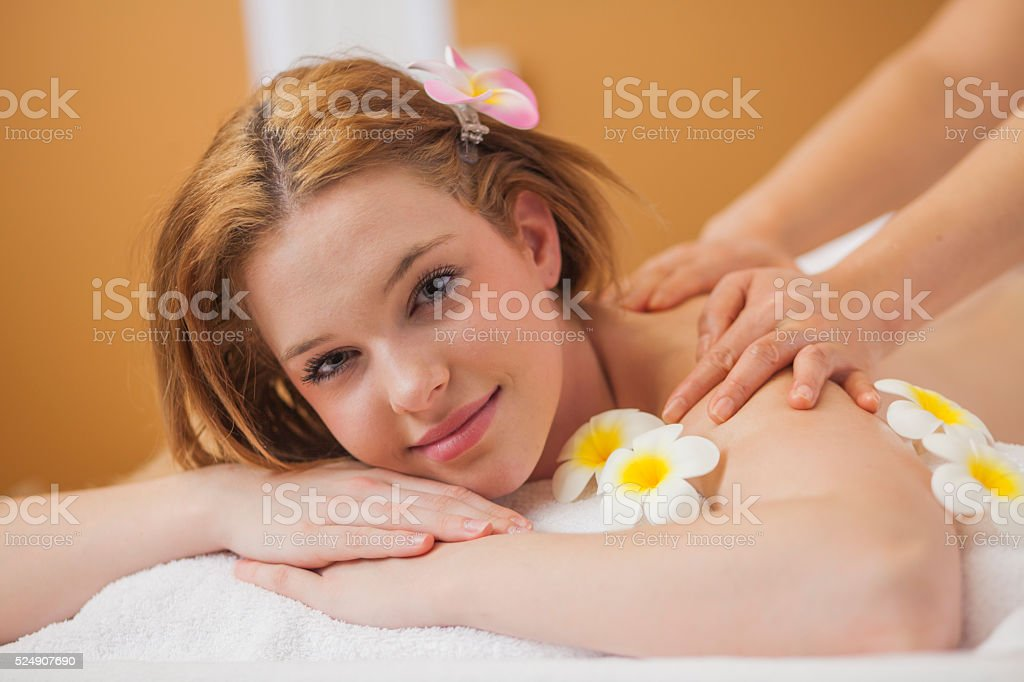 Young woman at Thai massage stock photo