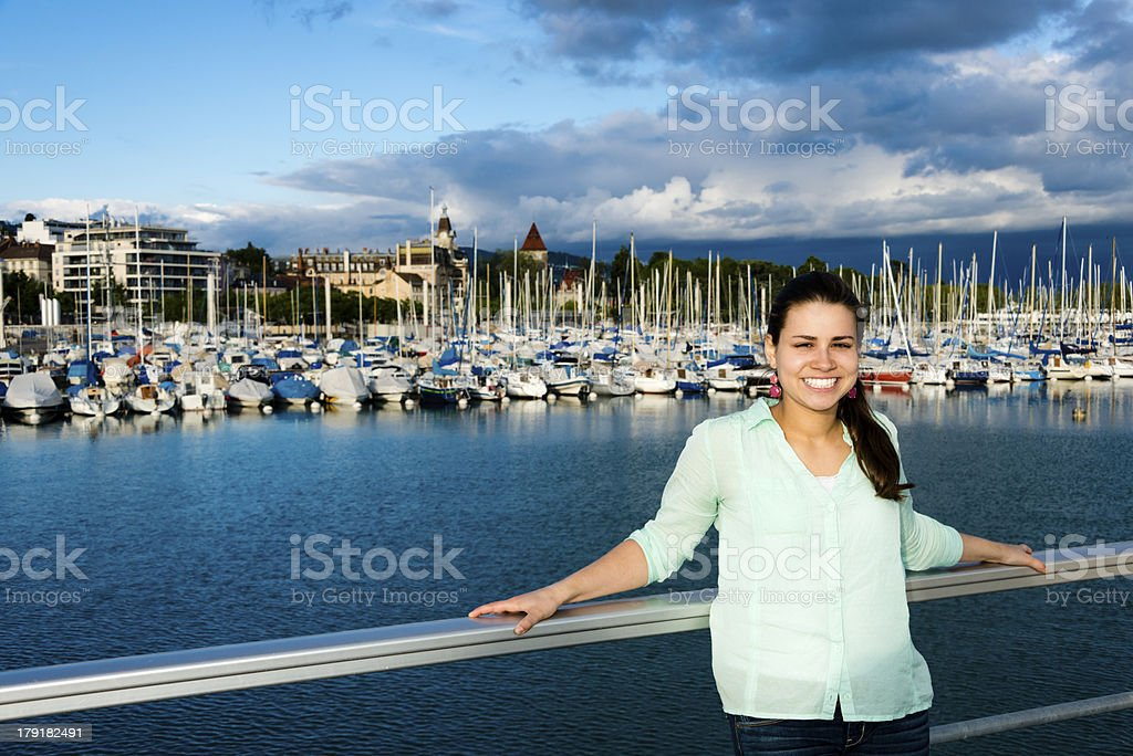Young woman at the dock royalty-free stock photo