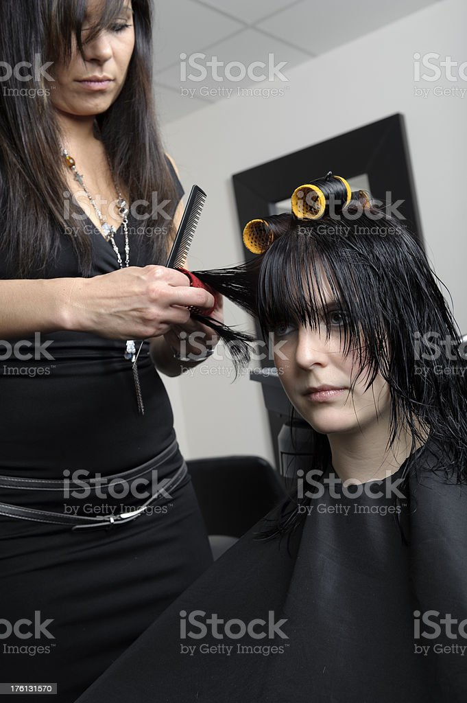 Young Woman at the Hairdresser's royalty-free stock photo