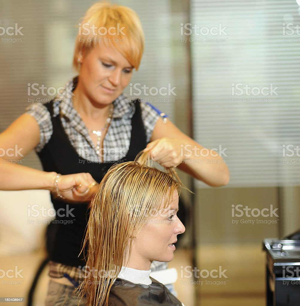 Young Woman at the Hairstylist royalty-free stock photo