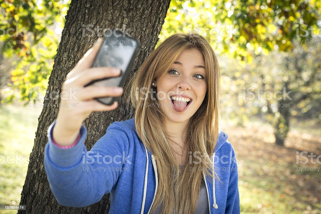 Young woman at the park royalty-free stock photo