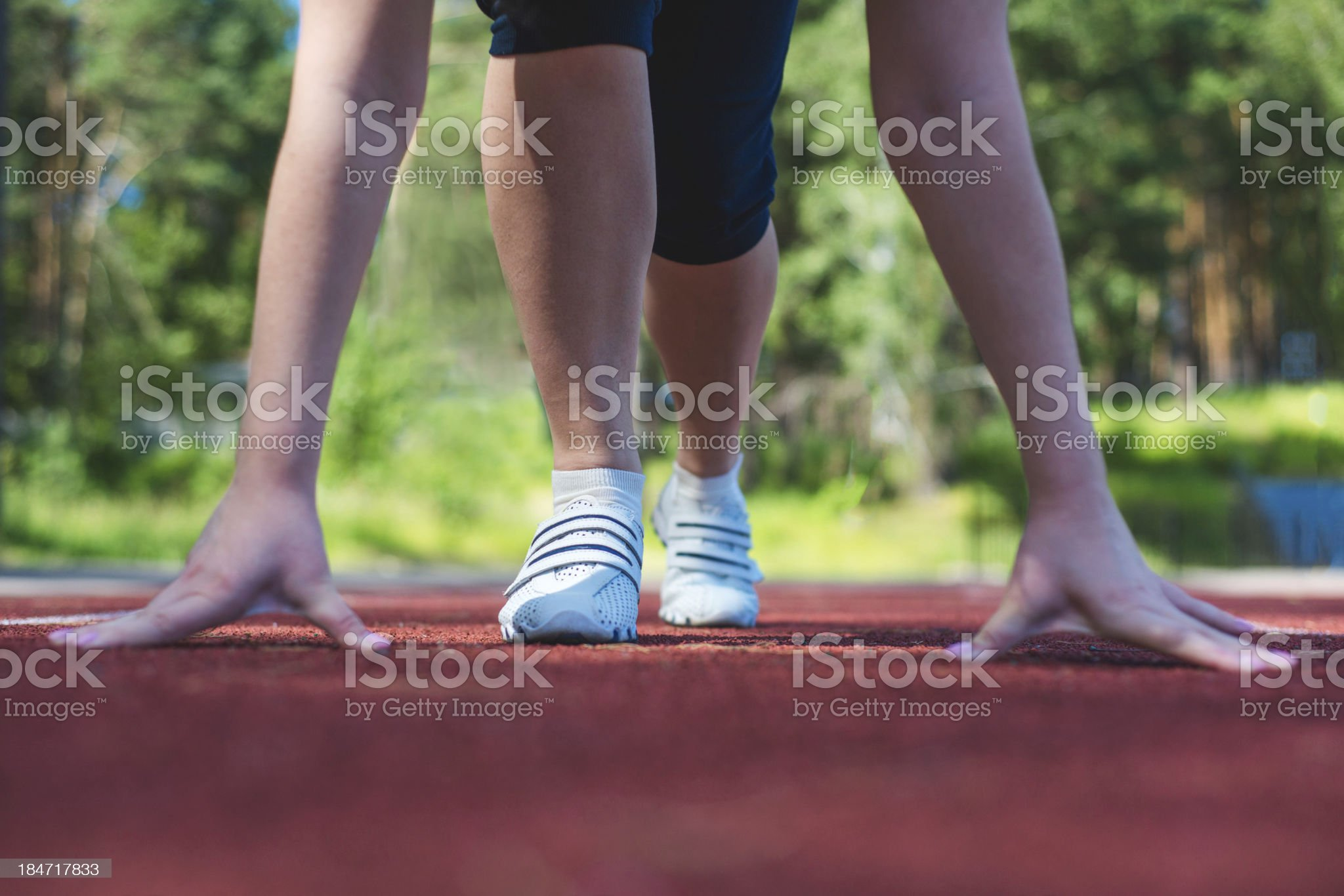 Young woman at the start royalty-free stock photo