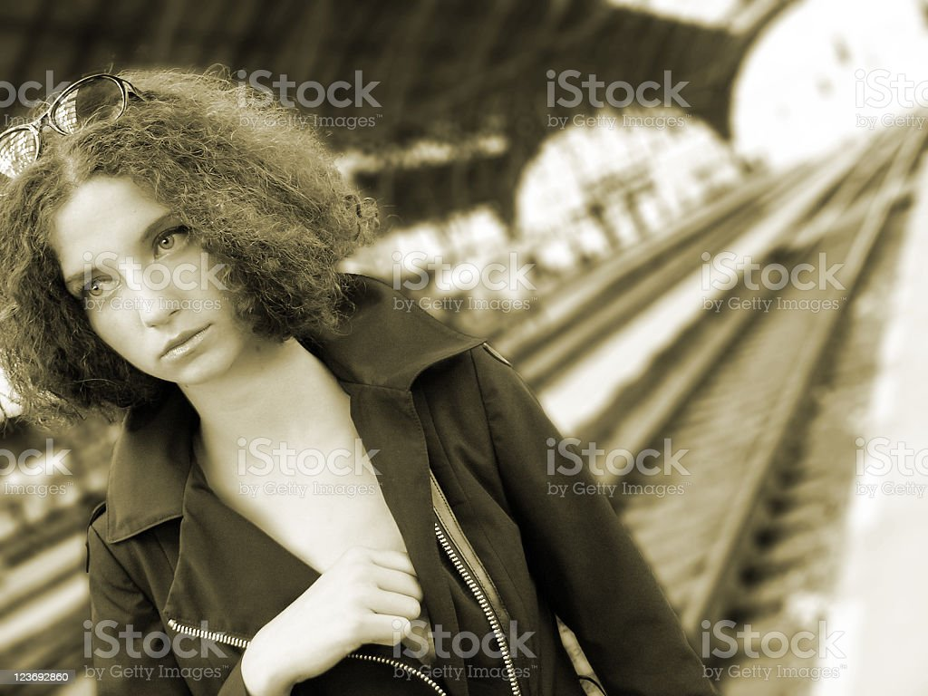 Young woman at the station stock photo