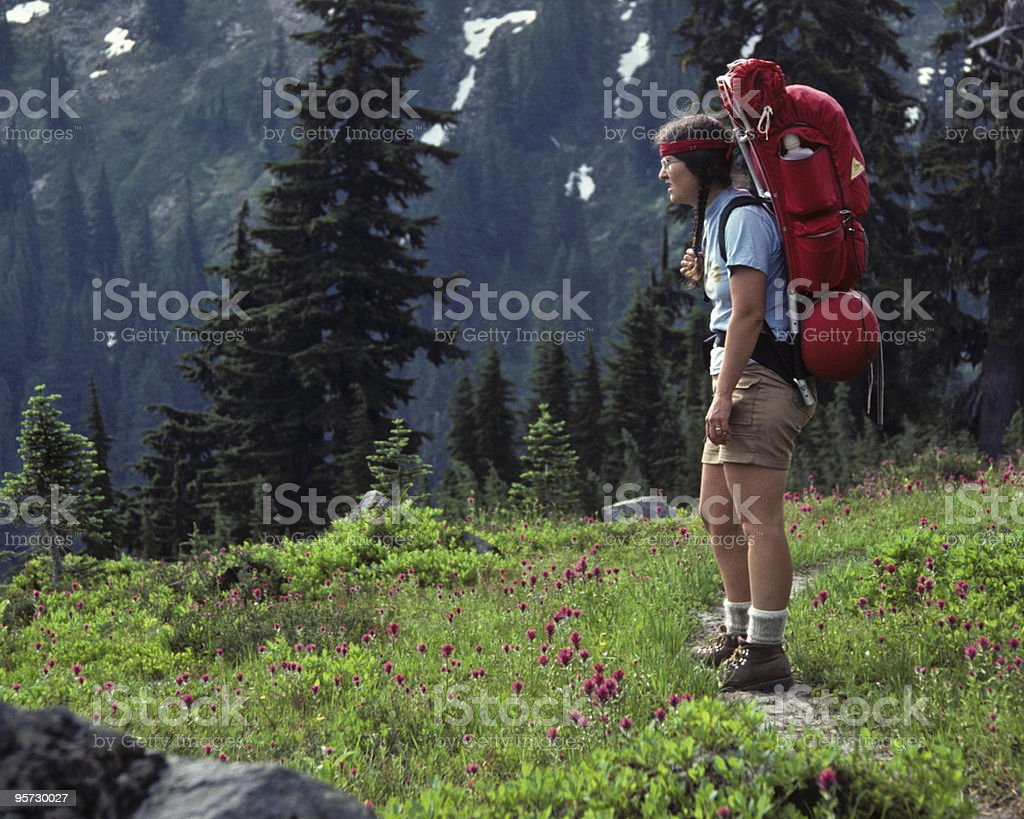 Young Woman Backpacking In an Alpine Meadow royalty-free stock photo