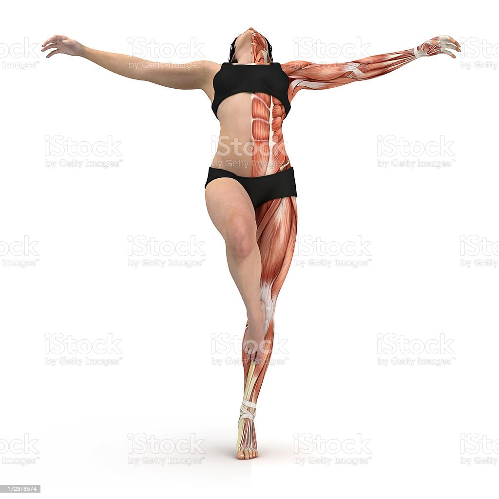 Young woman balanced on one leg, showing the muscles stock photo