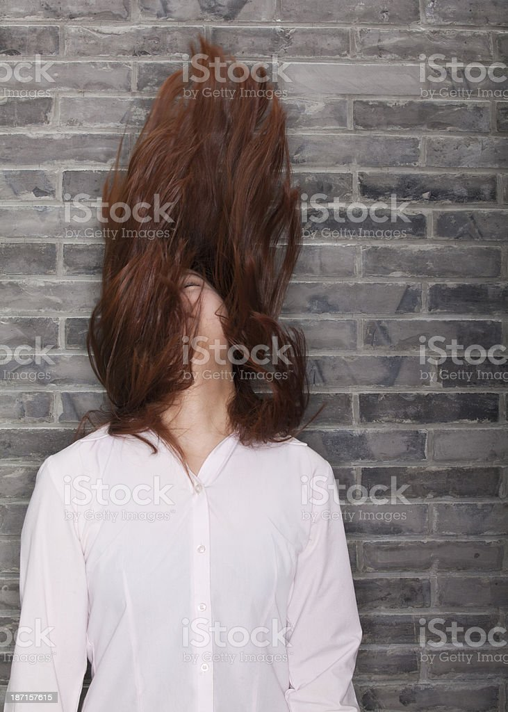 Young Woman Banging Head stock photo