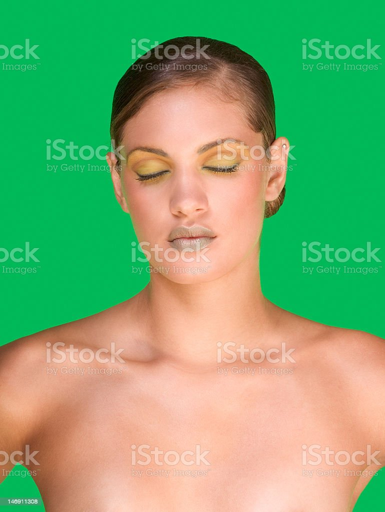 Young woman Beauty model with extravaganza makeup royalty-free stock photo