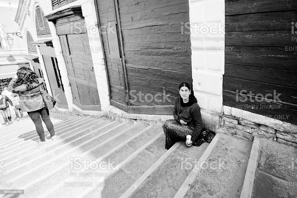 Young woman begging stock photo