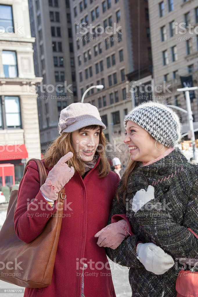 Young Woman being playful in the city stock photo