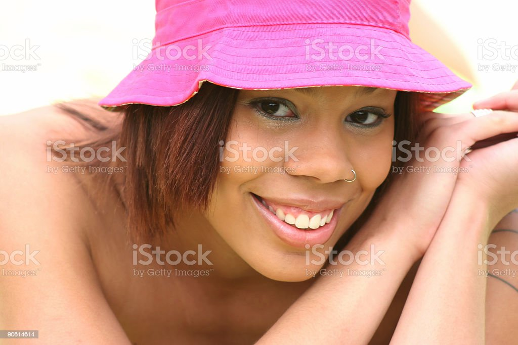 young woman big smile stock photo