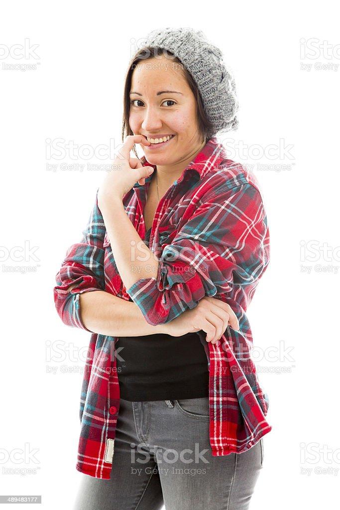 Young woman biting nail stock photo