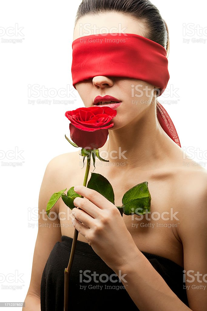 young woman blindfold stock photo