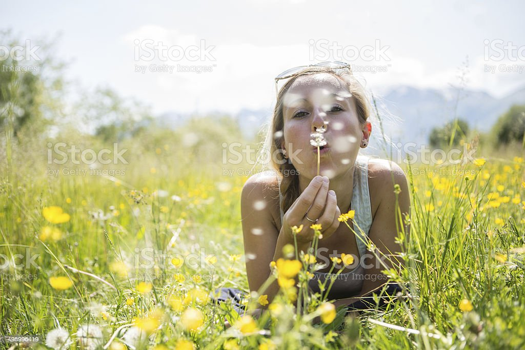 Young woman blowing Dandelion seeds in field stock photo