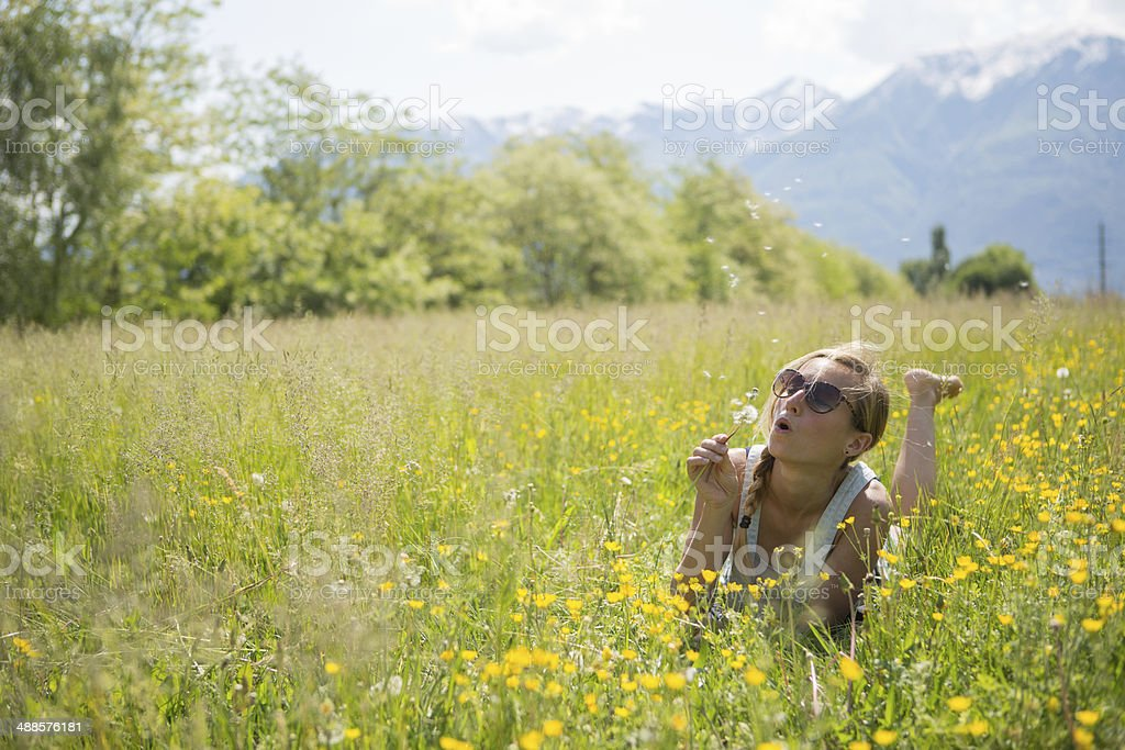 Young woman blowing Dandelion seeds in the field stock photo