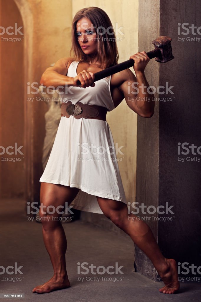 Young woman bodybuilder stock photo