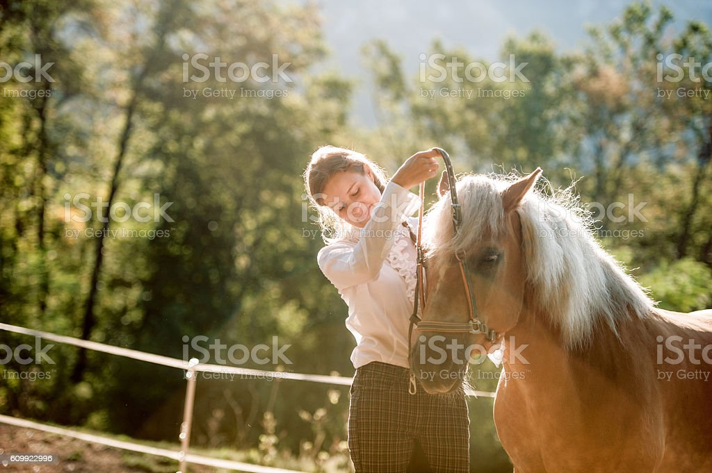 Young Woman Bridleing the Horse stock photo