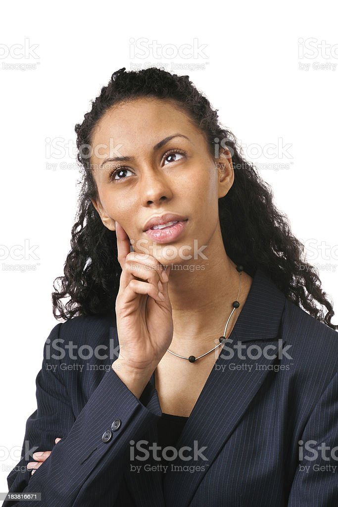 Young Woman Business Person Pondering, Thinking, Contemplating on White Background royalty-free stock photo