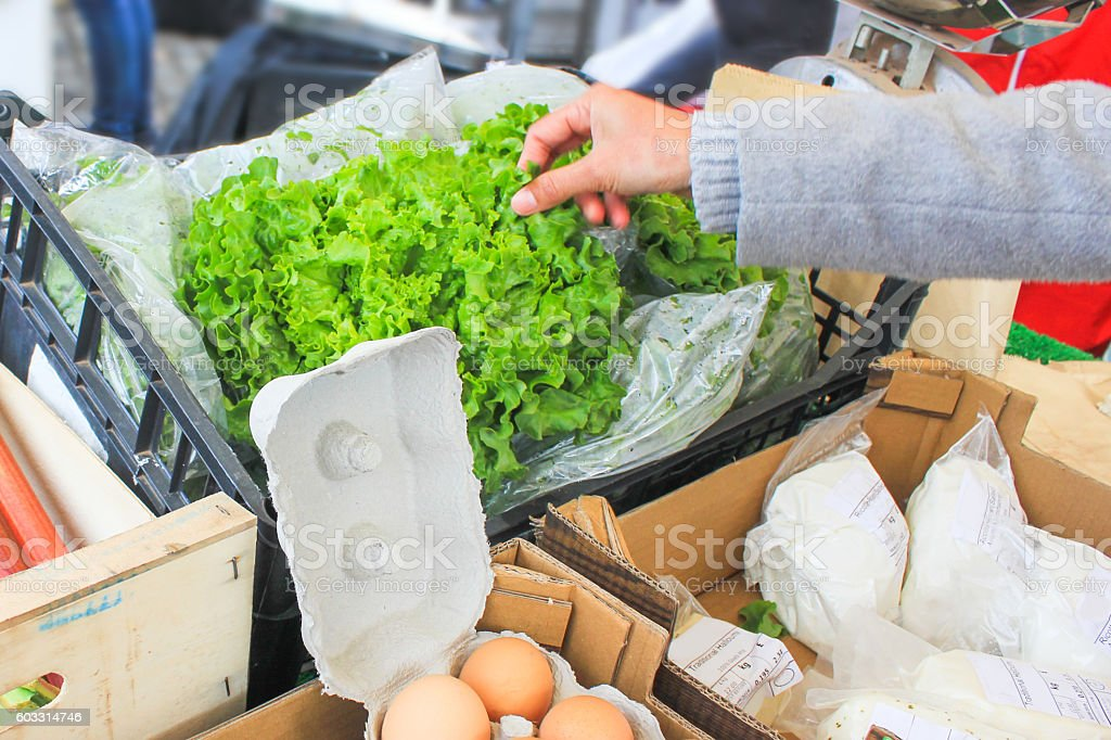 Young woman buying fresh lettuce stock photo