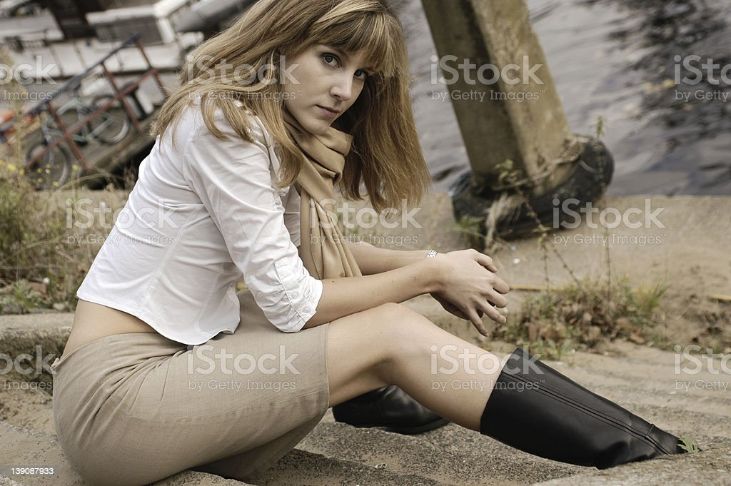 Young woman by the river royalty-free stock photo