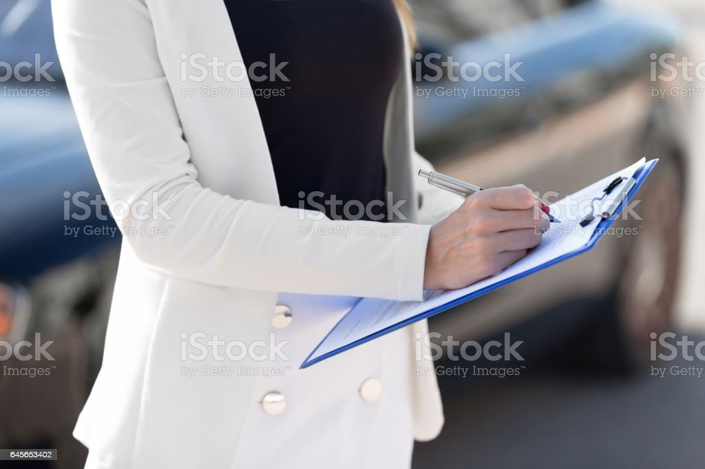 Young woman car rental stock photo