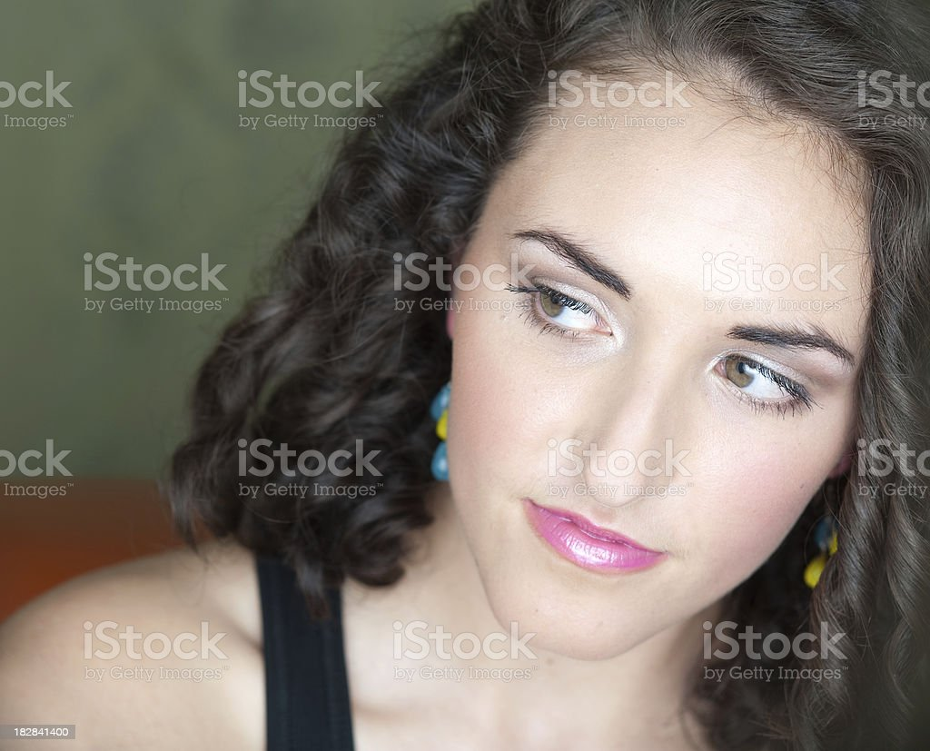 young woman checking out something royalty-free stock photo