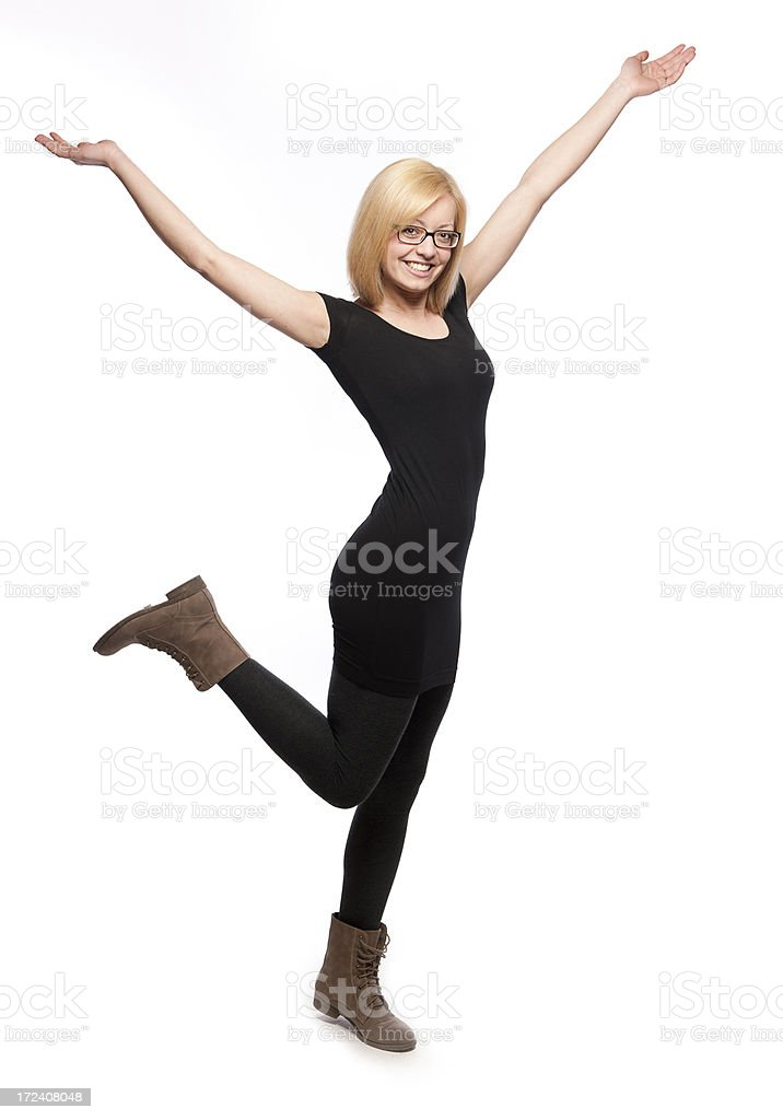 Young woman cheering royalty-free stock photo