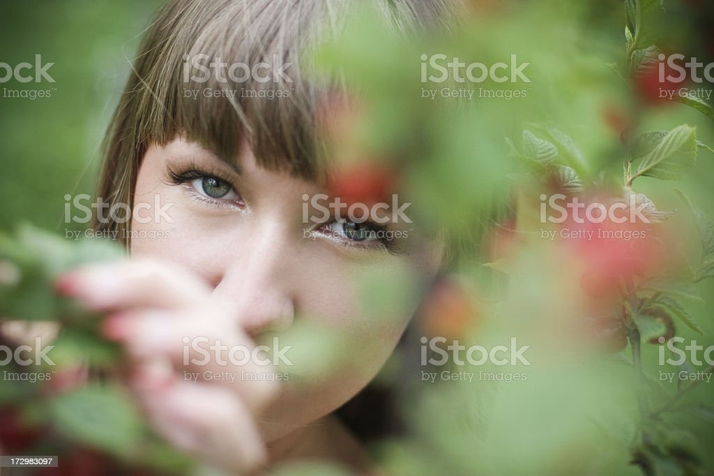 young woman & cherries royalty-free stock photo