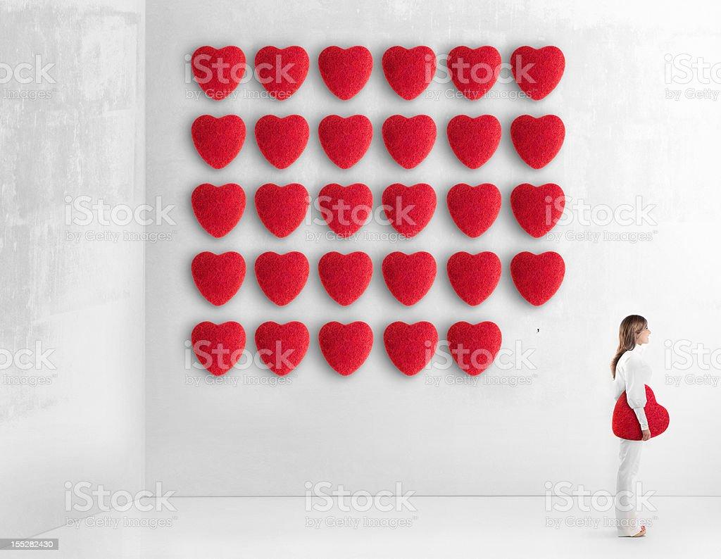 Young woman choosing her true love stock photo
