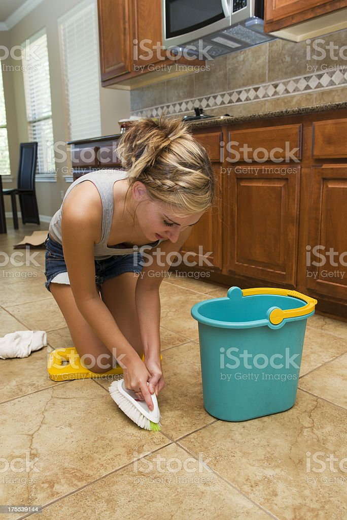 Young Woman Cleaning stock photo