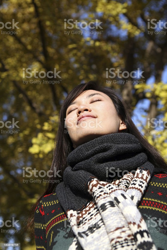 Young Woman Close Eyes and Deep Breathing - XXXLarge stock photo