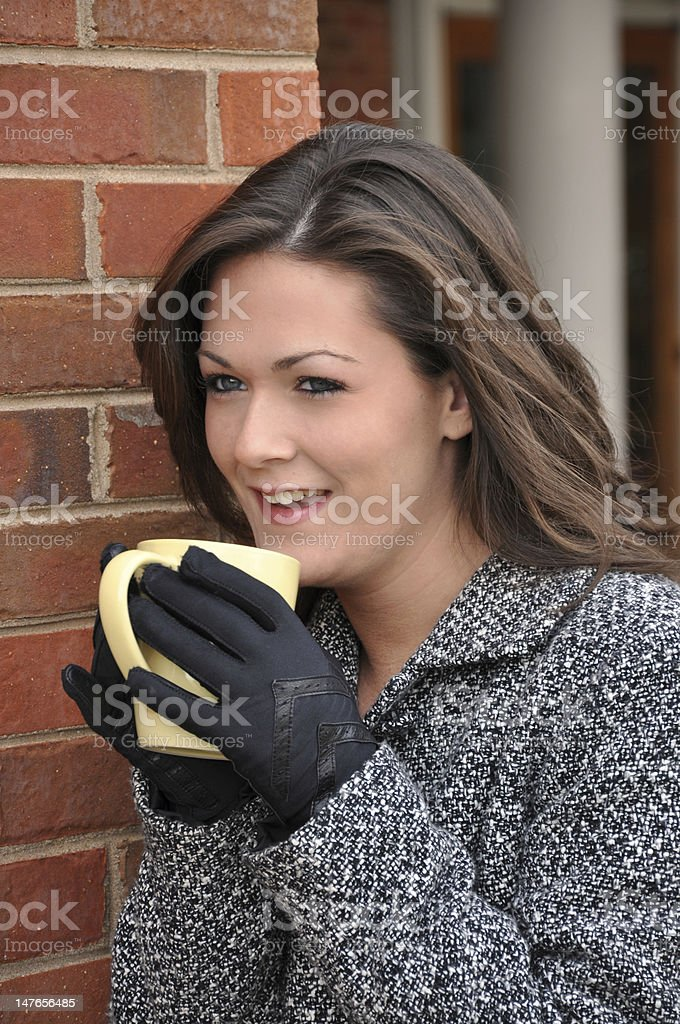 Young Woman, Coffee, Drinking royalty-free stock photo