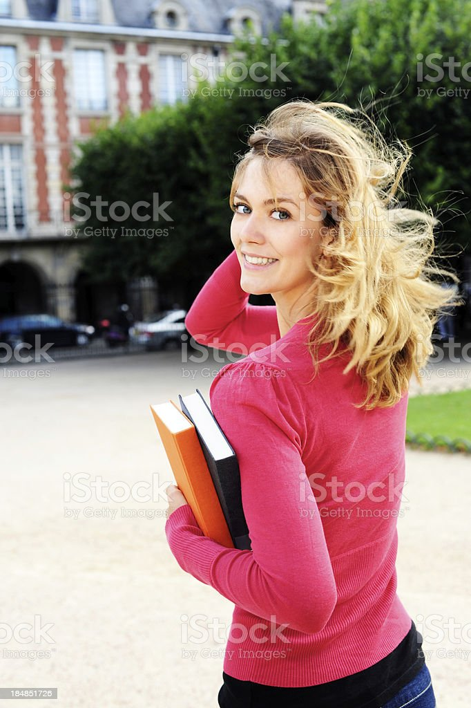 Young Woman College Student on University Campus royalty-free stock photo