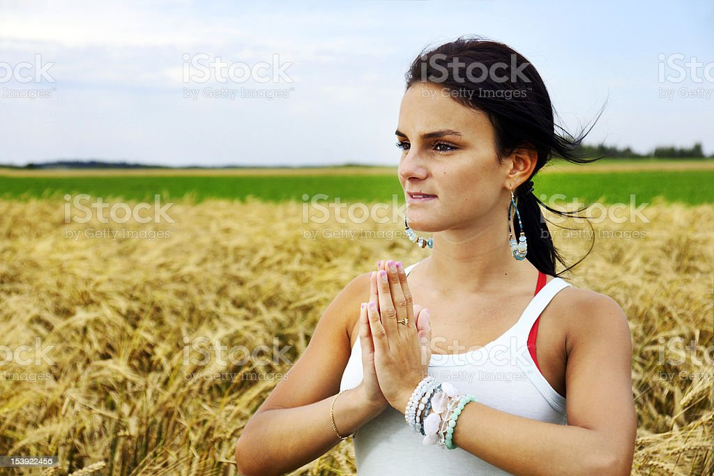 Young woman connecting with nature stock photo