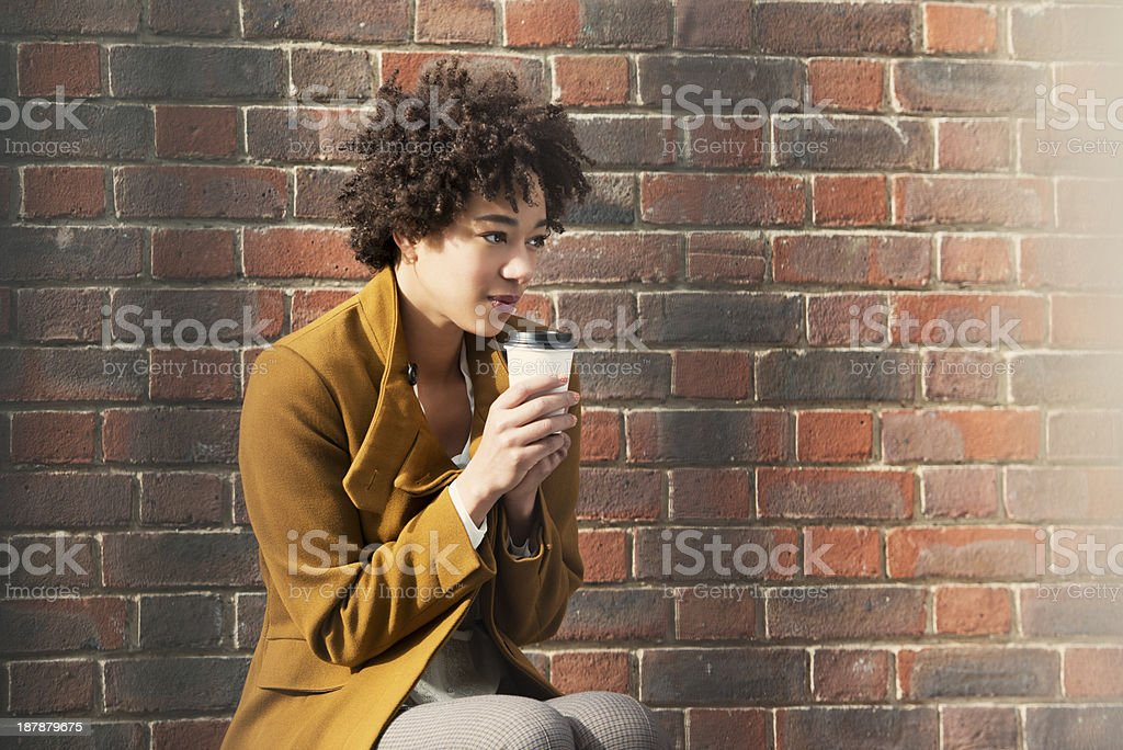 Young Woman Contemplating with Coffee royalty-free stock photo