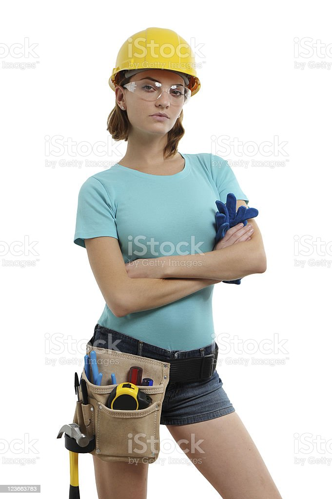 Young Woman Contractor Construction Carpenter Isolated on White Background royalty-free stock photo