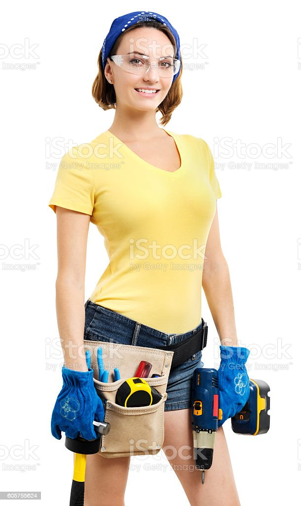 Young Woman Contractor Construction Carpenter on White stock photo