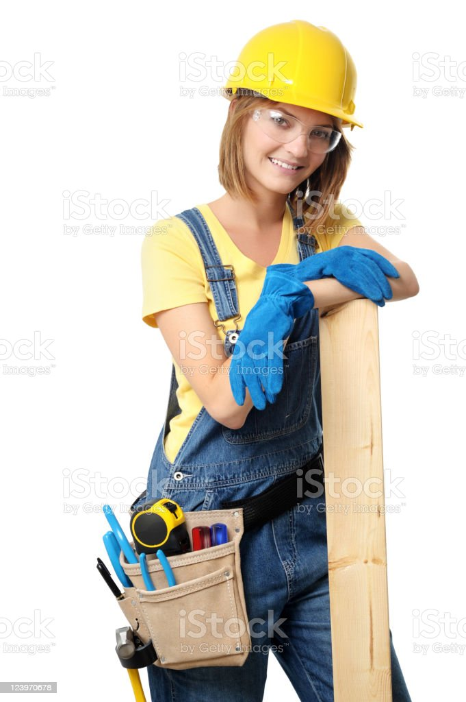 Young Woman Contractor Construction Carpenter with 2x4 on White royalty-free stock photo