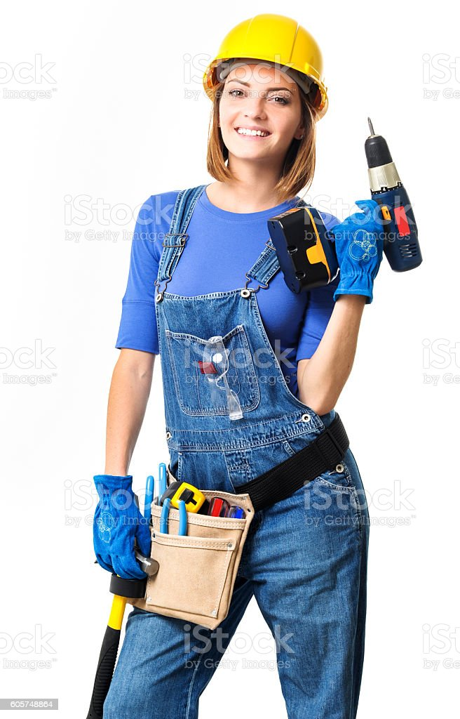 Young Woman Contractor Construction Carpenter with Drill on Whit stock photo