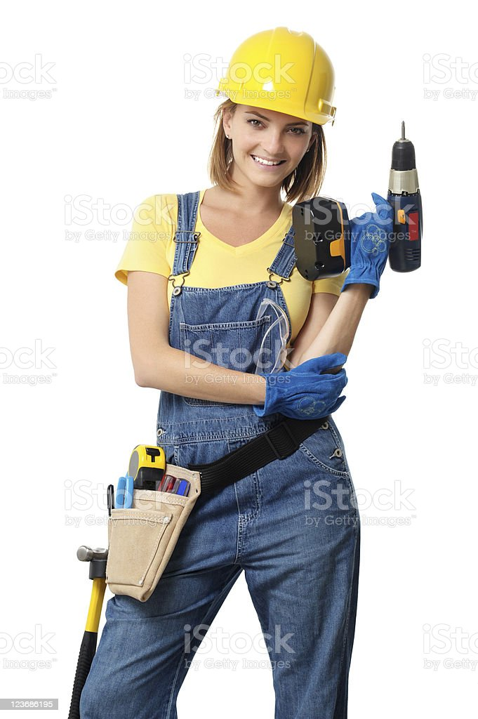 Young Woman Contractor Construction Carpenter with Drill on White royalty-free stock photo